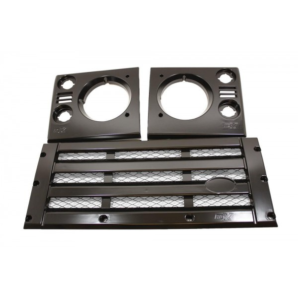 KBX Satin Black Mesh Face Lift Kit Black Grille for Land Rover Defender
